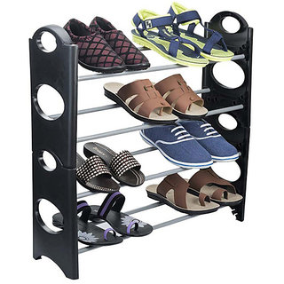 Skycandle Standard Shoe Rack with Steel Bars in Black Colour