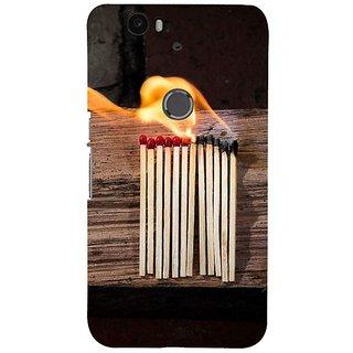 Fuson Designer Phone Back Case Cover Huawei Nexus 6P ( Burning Matchsticks )