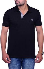 La Milano Black Polo Neck Half Sleeve T-Shirt for Men