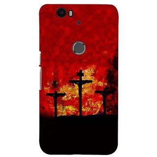 Fuson Designer Phone Back Case Cover Huawei Nexus 6P ( Silhouette Of The Cross )