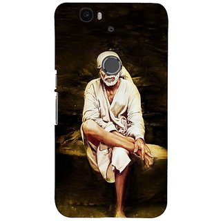 Fuson Designer Phone Back Case Cover Huawei Nexus 6P ( Sai Baba Sitting On Stone )