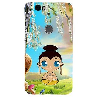 Fuson Designer Phone Back Case Cover Huawei Nexus 6P ( Animated Drawing Of Lord Buddha )