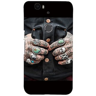 Fuson Designer Phone Back Case Cover Huawei Nexus 6P ( Tatooed Hands With Rings )