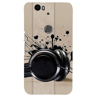 Fuson Designer Phone Back Case Cover Huawei Nexus 6P ( Black Headphones )