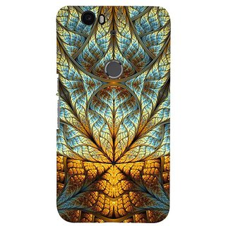Fuson Designer Phone Back Case Cover Huawei Nexus 6P ( The Golden And White Abstract )