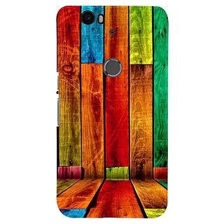 Fuson Designer Phone Back Case Cover Huawei Nexus 6P ( Multicolured Wooden Walls )