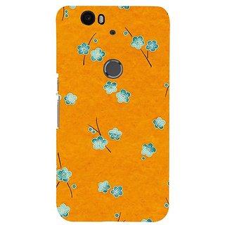 Fuson Designer Phone Back Case Cover Huawei Nexus 6P ( Blue Flowers In Mustard Sky )