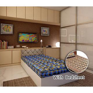 Bellz single cotton blue mattress with free bedsheet