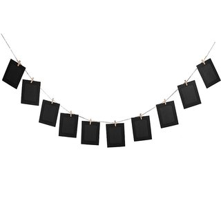 Magideal 10pcs/set DIY 6inch Hanging Album Clip Kraft Paper Photo Frame Black
