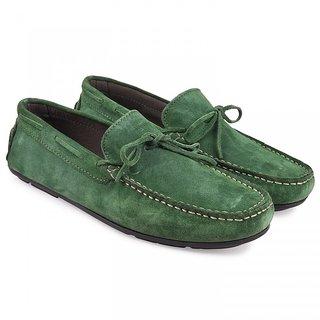 Go green lace loafers by lederwarren