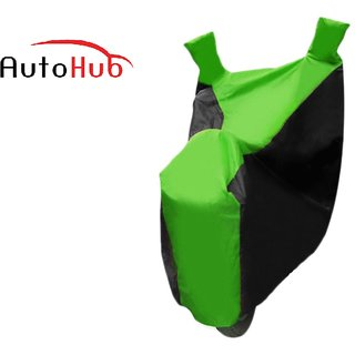 Flying On Wheels Two Wheeler Cover With Mirror Pocket Water Resistant For Bajaj V15 - Black & Green Colour