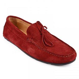 Red lace loafers by lederwarren