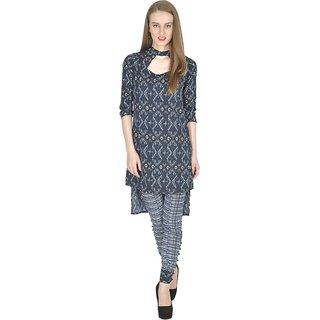 Simbha Creations Blue Printed Crepe Women's Stitched Kurti