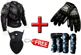 COMBO of CHEST GUARD FOX with ELBOW KNEE GUARD FOX and SCOYCO HAND GLOVES (MC08) with PULLUTION MASK NEOPRENE all black