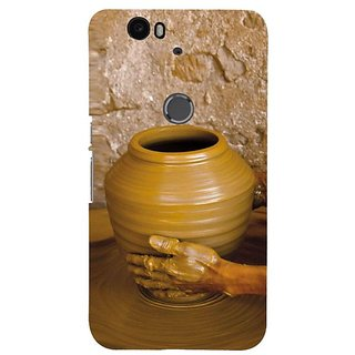 Fuson Designer Phone Back Case Cover Huawei Nexus 6P ( Making Clay Pots On Wheel )