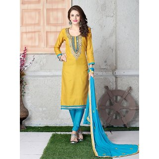 Womaniya Yellow  Sky Embroidered Chanderi Cotton Straight Suit