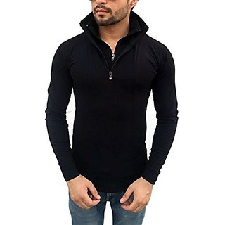 Tees Collection Men's Stylish Half Zip Double Flap Collar Full Sleeve Slim Fit T-Shirt