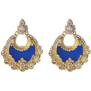 Styylo Fashion Exclusive Golden Blue White Earring Set/S 757