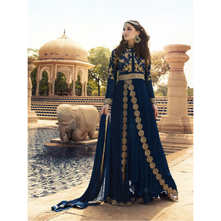 Womaniya Navy Bue  Beige Embroidered Georgette Anarkali Suit