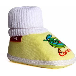 Indman New Born Baby Padded Shoes - Lemon Color with in Built Socks
