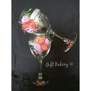 Pair of Decorated Wine Glass