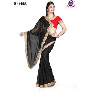 13fe36a70e4eef INDIAN BOLLYWOOD DESIGNER FAUX CHIFFON BLACK SAREE   BLOUSE DHUPIAN RED 169  A