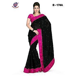 INDIAN BOLLYWOOD DESIGNE FAUX CHIFFON BLACK SAREE & BLOUSE DHUPIAN PINK 174 A
