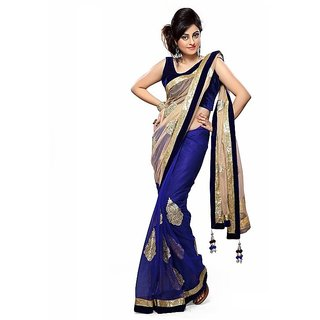 3a6598b6203e7a Bollywood style Blue net Saree with cream pallu and heavy embroidery work  border