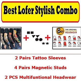 Fashion Combo 4 pairs Magnetic Stud non Pierced Earrings , 2 Buff Multifuntional Headwear and 2 Tattoo Sleeves CodexX-9055