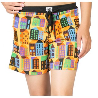 Nuteez Retro  Orange Cotton Shorts