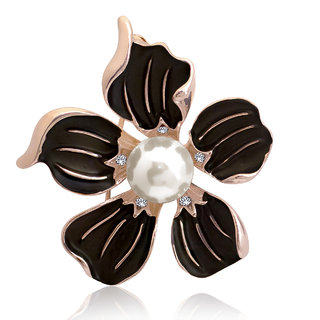 Spargz Party Wear Rose Gold Plated Pearl Flower Brooch Pin For Girls  Women AISAP085