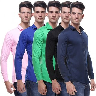 Red Code  Full Sleeves Casual Poly-Cotton Shirts For Men Pack Of 5 05