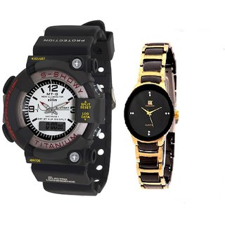 MTG Men and IIK Gold-Black Women Watches Couple for Men and women