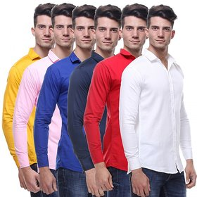 Red Code  Full Sleeves Casual Poly-Cotton Shirts For Men Pack Of 6 04