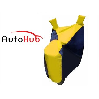 Flying On Wheels Two Wheeler Cover With Mirror Pocket UV Resistant For Hero Glamour - Black & Yellow Colour