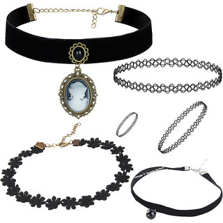 Jewels Galaxy Stunning Designed Black Lace Pearl Lace Floral Rose Designer Necklace Black Tattoo Necklace Bracelet & Ring Combo For Women/Girls