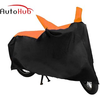 Flying On Wheels Two Wheeler Cover With Mirror Pocket With Sunlight Protection For Yamaha Fz 16 - Black & Orange Colour