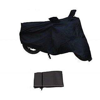 Flying On Wheels Two Wheeler Cover Without Mirror Pocket Water Resistant For Suzuki Hayate - Black Colour