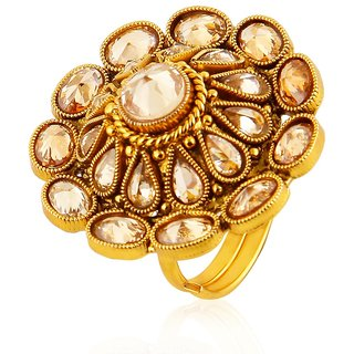 Jewels Galaxy Alloy Gold Plating Kundan/Meenakari Studded White Coloured F-Rings-2059