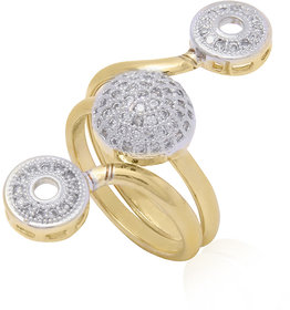Jewels Galaxy Intricately Crafted  American Diamond Double Sided Free Size Ring