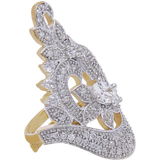 Jewels Galaxy Enchanting Exclusive American Diamond Cocktail Free Size Ring