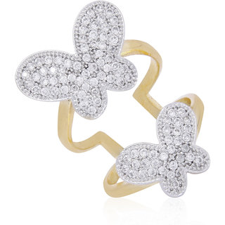 Jewels Galaxy Wonderful Butterfly American Diamond Double Sided Free Size Ring