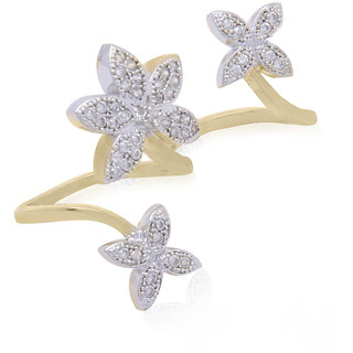 Jewels Galaxy Enchanting Flowers American Diamond Double Finger Free Size Ring