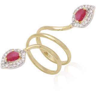 Jewels Galaxy Exquitely Crafted American Diamond With Ruby Double Sided Free Size Ring