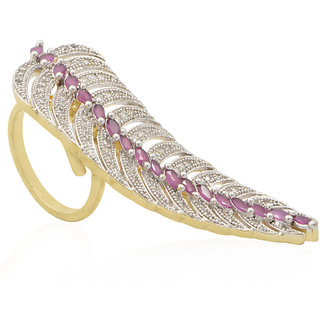 Jewels Galaxy Exquitely Crafted American Diamond With Solitaire Ruby Multi Finger Free Size Ring