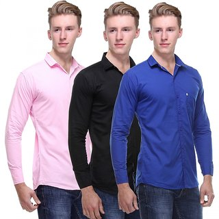 Red Code  Full Sleeves Casual Poly-Cotton Shirts For Men Pack Of 3 07