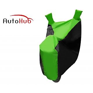 Flying On Wheels Premium Quality Bike Body Cover With Mirror Pocket For Suzuki Swish 125 Facelift    - Black & Green Colour