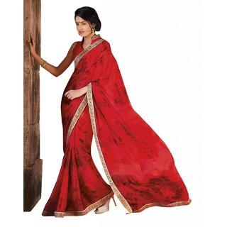 Triveni Multicolor Satin Chiffon Printed Saree With Blouse