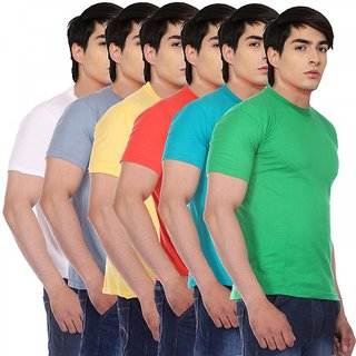 Red Code Half Sleeves Round Neck T-shirts for Mens (Pack of 6)