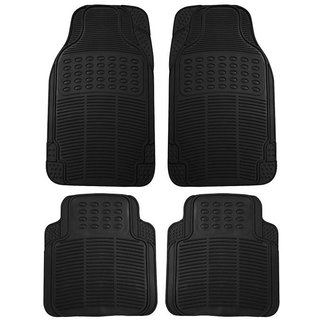 Bluetuff Black Odourless Rubber Car Foot Mat For Mahindra Bolero XL